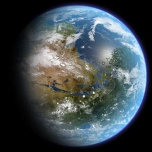 Recreación artística de Marte terraformado