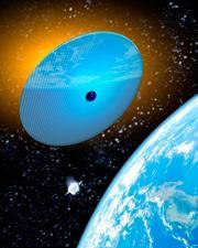 Ejemplo de espejo espacial como obra de geo-ingeniería
