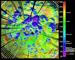 Un mapa de la temperatura superficial del polo sur lunar realizado por la nave LRO. Foto: NASA